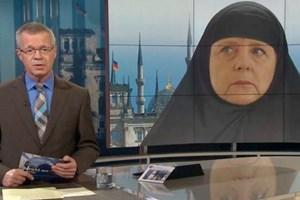 Devlet televizyonu ARD, Merkel'e kara çarşaf giydirdi!