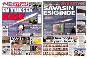 Türkiye'nin Rus savaş uçağını düşürmesini hangi gazete, nasıl gördü?