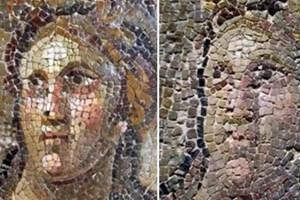 Karikatürü aratmayan mozaiklerin son hali basına gösterildi