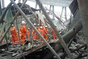 Çin'de elektrik santrali inşaatındaki göçük