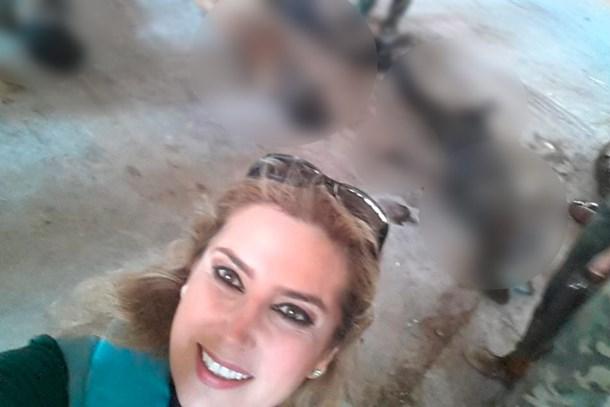 Suriyeli kadın gazeteciden skandal katliam selfiesi!