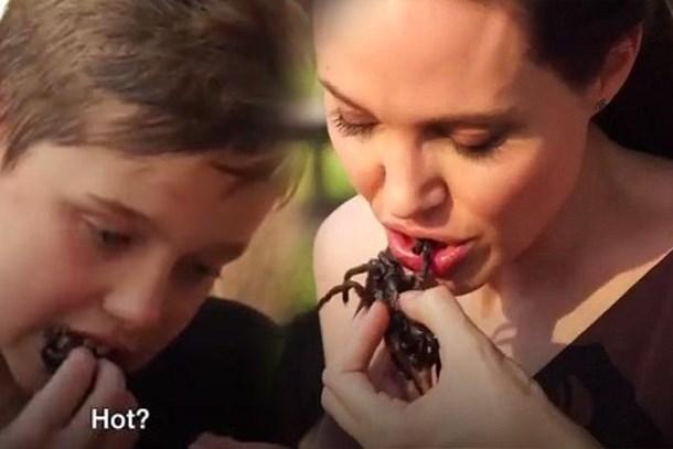 Angelina Jolie çocuklarına örümcek yedirdi