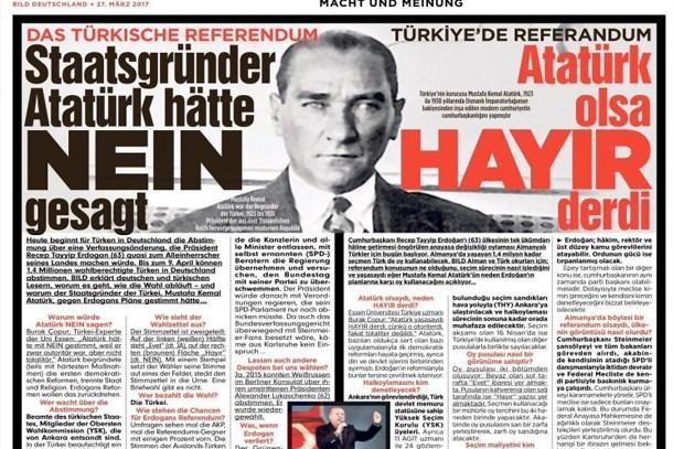 Bild gazetesinden Atatürk manşeti: Yaşasaydı hayır derdi!