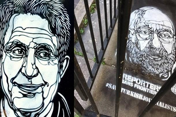 Türkiye'deki tutuklu gazetecilerin yüzleri Paris sokaklarında!
