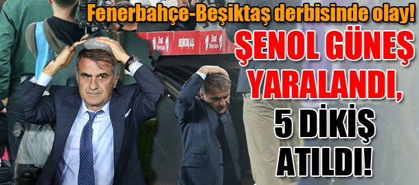 Fenerbahçe-Beşiktaş derbisinde olay! Şenol Güneş yaralandı, 5 dikiş atıldı!