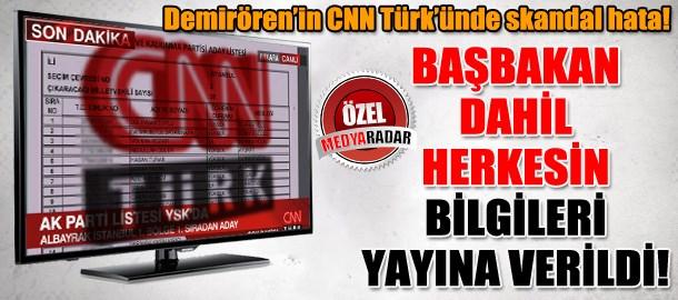 Demirören'in CNN Türk'ünde skandal hata! Başbakan dahil herkesin bilgileri yayına verildi! (Medyaradar/Özel)