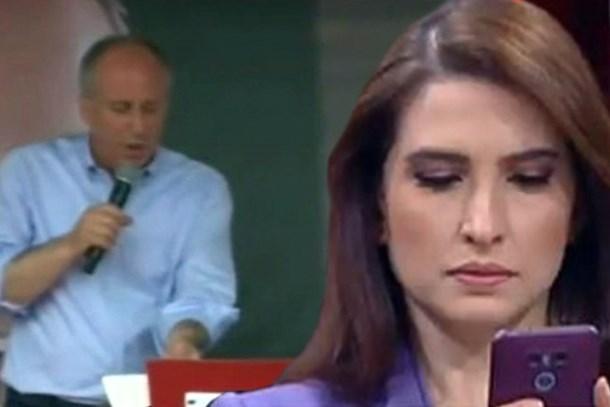 Muharrem İnce'nin yayını kesilince CNN Türk sunucusu zor anlar yaşadı!