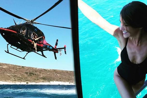 Türkan Şoray'ın kızı helikopterden denize böyle atladı!