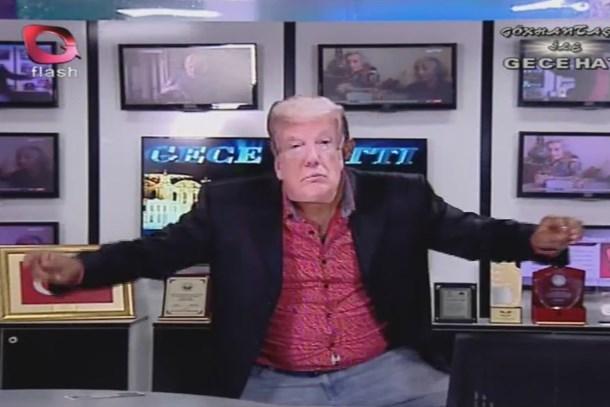 ABD'ye bir tepki de Flash TV'den! Canlı yayında Trump'ı böyle oynattılar!