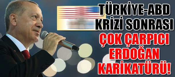 Türkiye-ABD krizi sonrası çok çarpıcı Erdoğan karikatürü!
